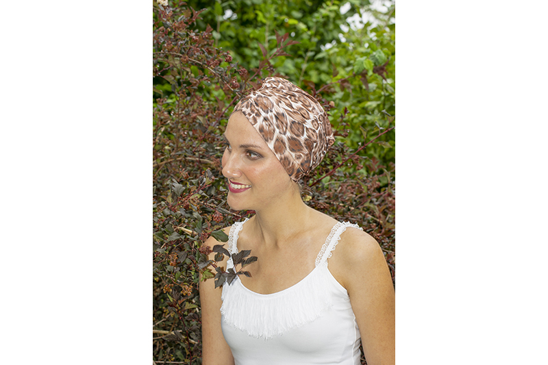 turban cancer chimio masquer les chutes de cheveux made in france fait main imprime panthere