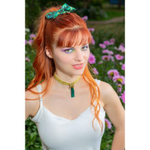 accessoire cheveux made in france noeud vert fait main handmade barrette ornement