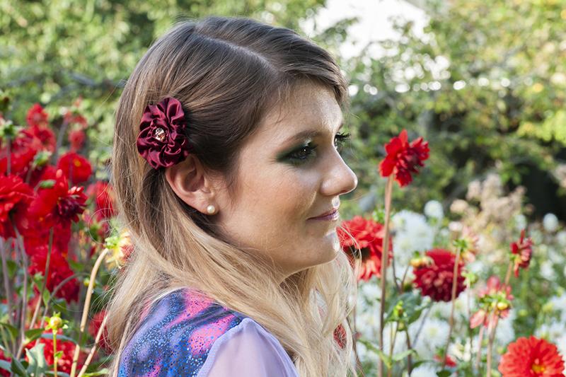 accessoire cheveux made in france barrette fleur bordeaux bijou de tete