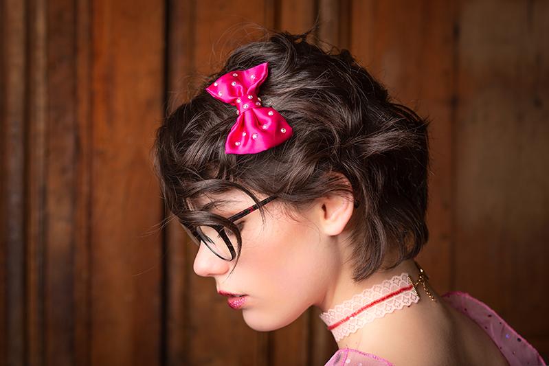 barrette accessoire cheveux made in france fait main fuchsia noeud baroque