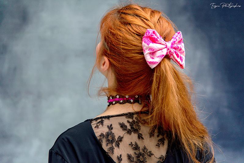 accessoire cheveux noeud rose a fleurs made in france bijou de tete handmade fait main