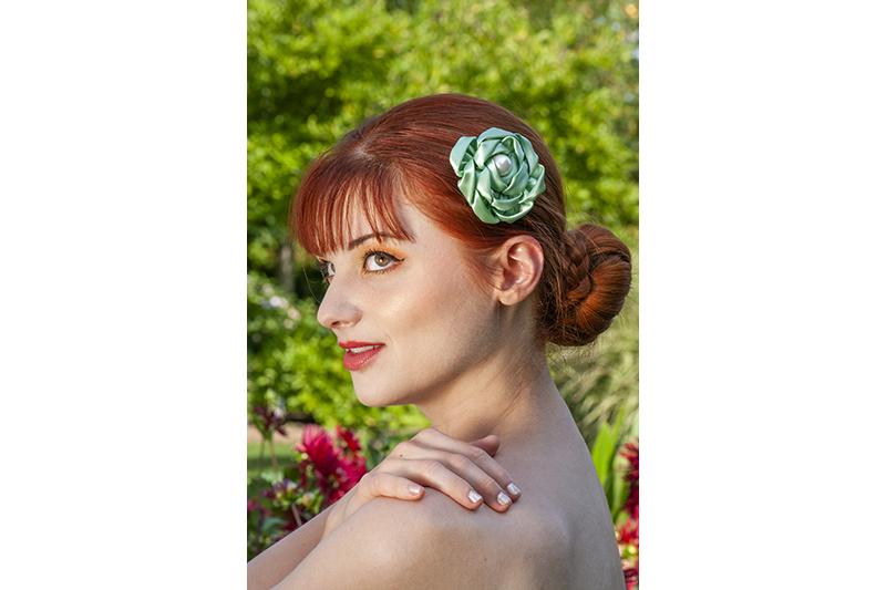 accessoire cheveux made in france vert barrette fait main handmade bijou de cheveux