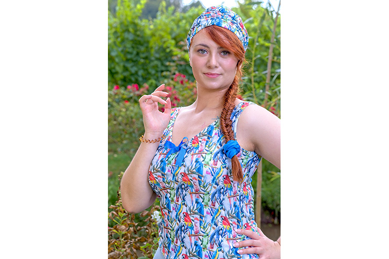 turban cancer chimio perte de cheveux made in france imprime perroquets
