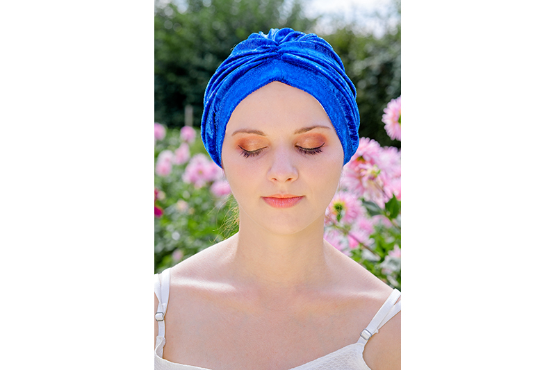 turban cancer velours bleu made in france chimio perte de cheveux