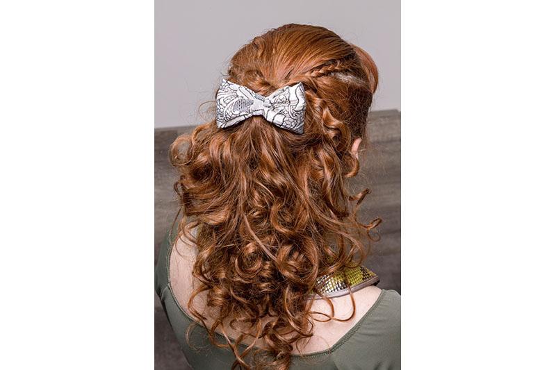 accessoire cheveux noeud barrette made in france bijou de tete beige dore