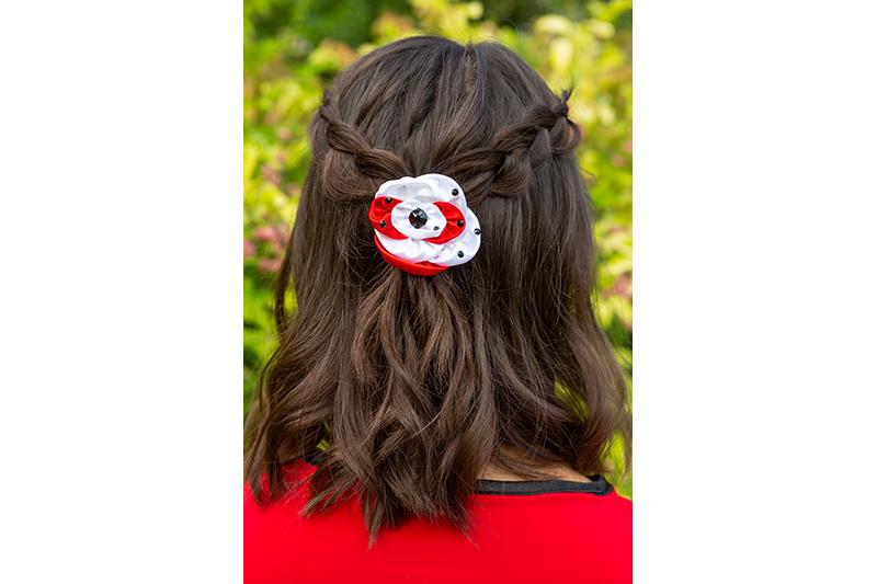 accessoire cheveux femme rouge et blanc made in france barrette bijou de cheveux