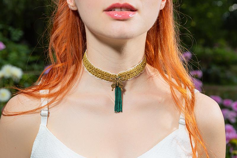 collier choker or et vert made in france bijou handmade fait main artisanal createur