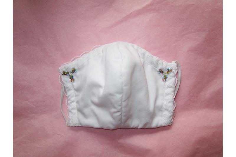 masque alternatif artisanal blanc dentelle strass protection virus covid 19 coronavirus made in france