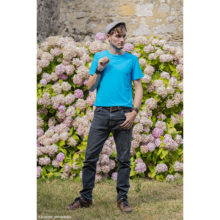 tee-shirt pour homme t-shirt made in france bleu turquoise uni