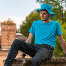 tee-shirt t shirt bleu turquoise uni pour homme made in france