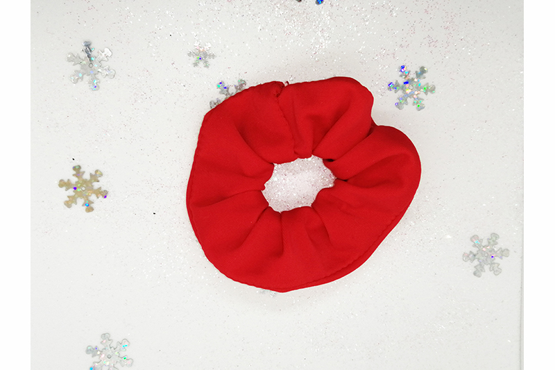 chouchou rouge uni scrunchie made in France fait main handmade