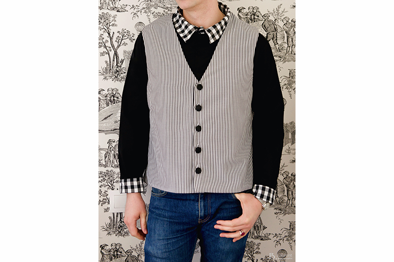gilet homme raye rayures noir et blanc made in france qualite