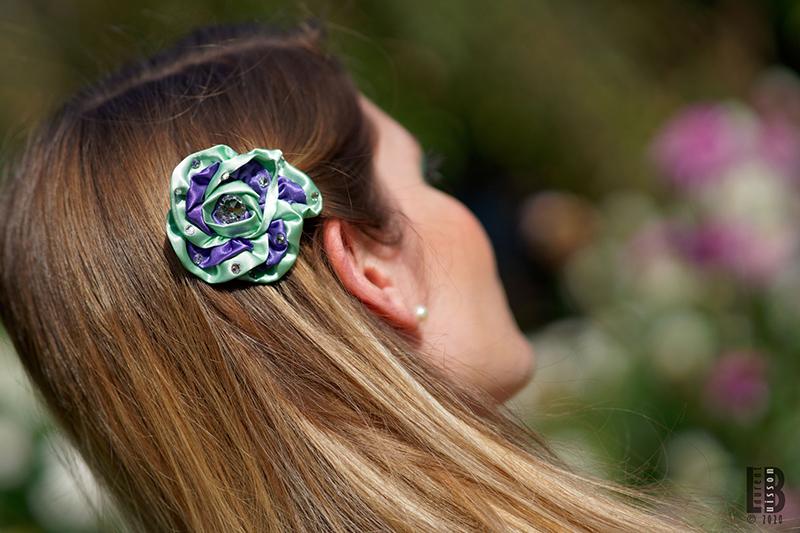 accessoire cheveux barrette fleur vert violet fait main made in france