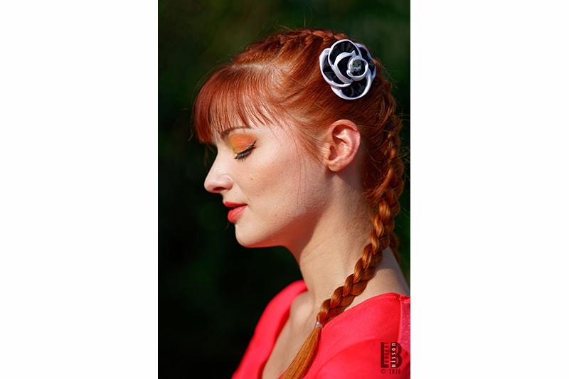 accessoire cheveux made in france noir et blanc barrette bijou de tete