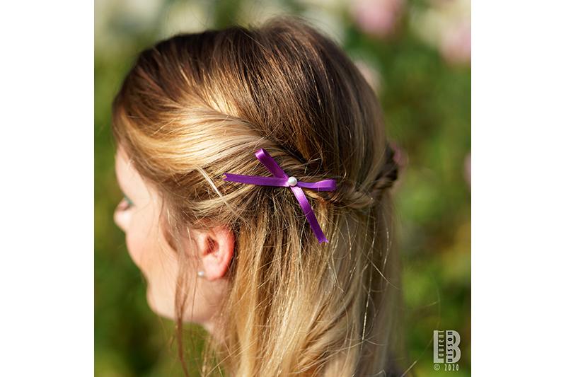 mini noeud pour les cheveux made in france violet fait main