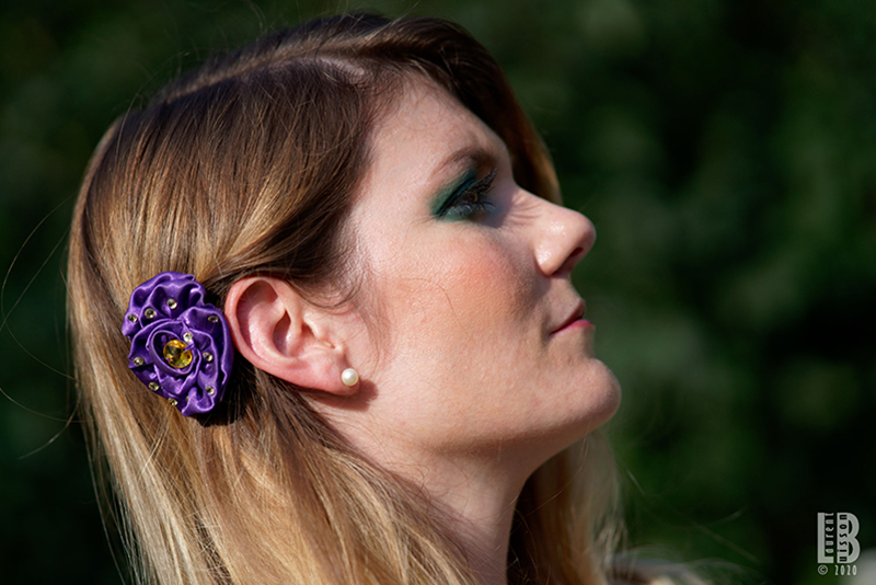 accessoire cheveux made in france fait main fleur coiffure violet made in france