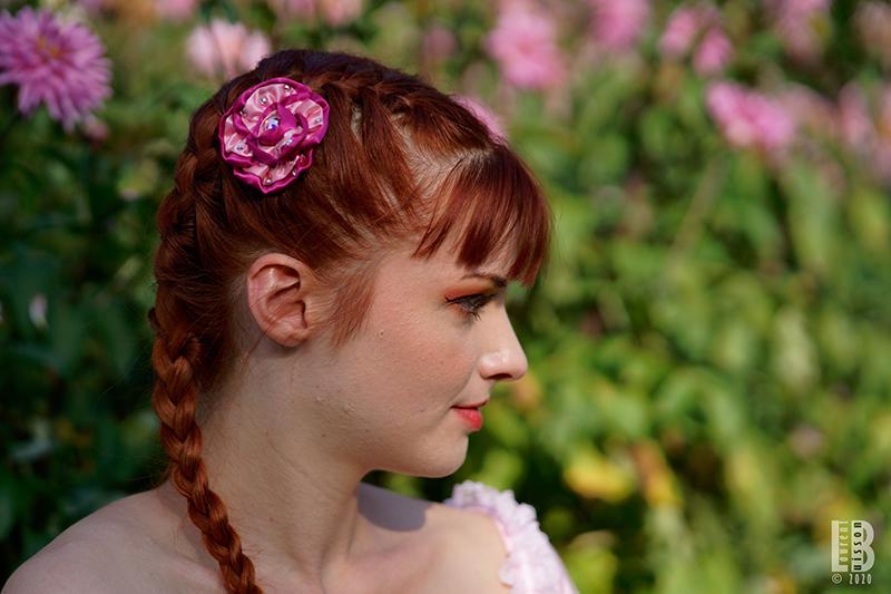 fleur cheveux accessoire made in france barrette rose fait main