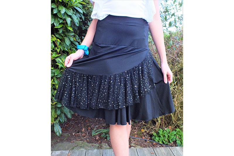 jupe noire femme asymetrique made in france