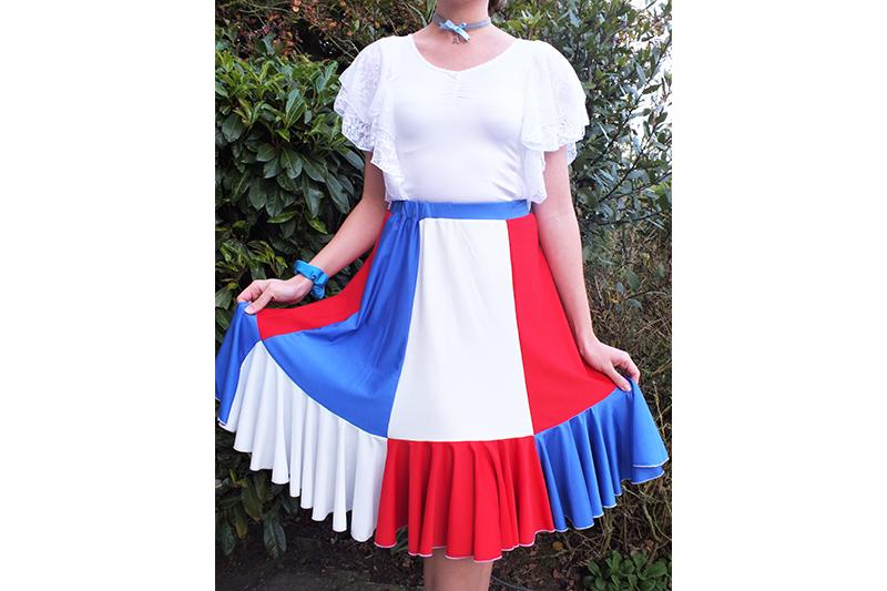 Jupe femme tricolore made in france bleu blanc rouge drapeau français