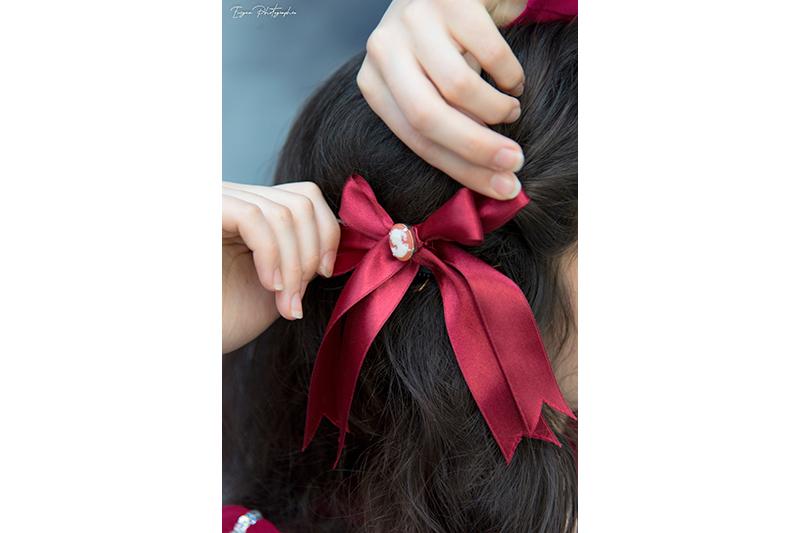 noeud pour les cheveux bordeaux accessoire de mode made in france