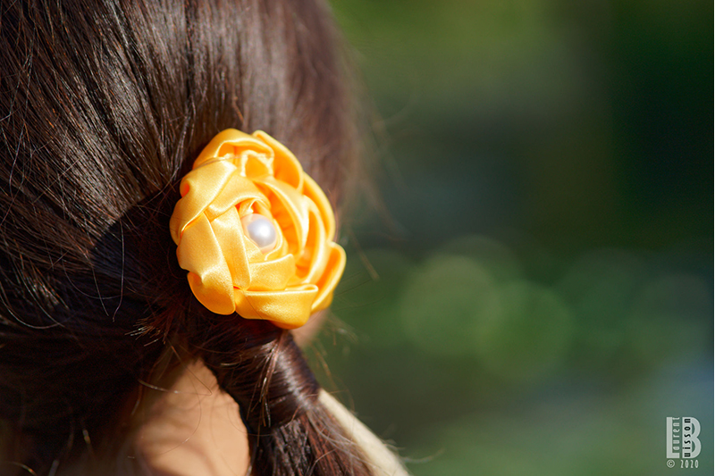 barrette fleur cheveux jaune made in france