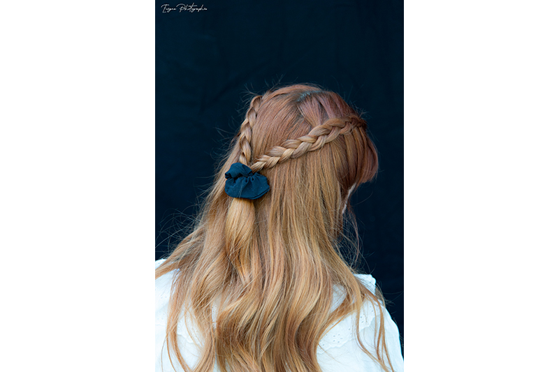 chouchou cheveux noir uni scrunchie made in france