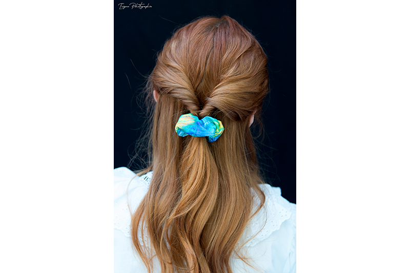 chouchou cheveux scrunchie multicolore made in france