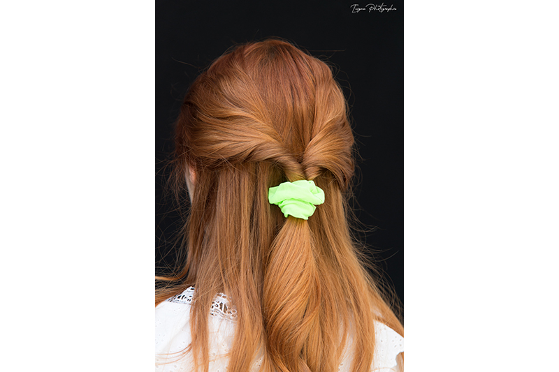 chouchou cheveux made in france fait main scrunchie vert fluo