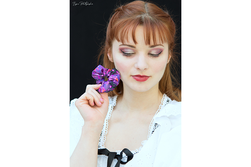 scrunchie violet chouchou cheveux made in france
