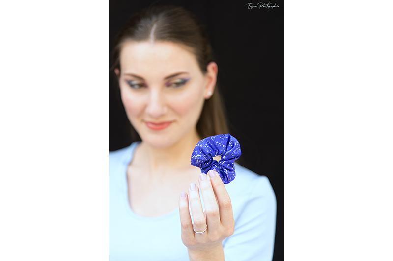 scrunchie bleu indigo chouchou cheveux made in france