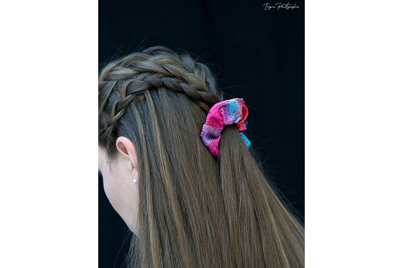 chouchou cheveux made in france scrunchie bleu et rouge