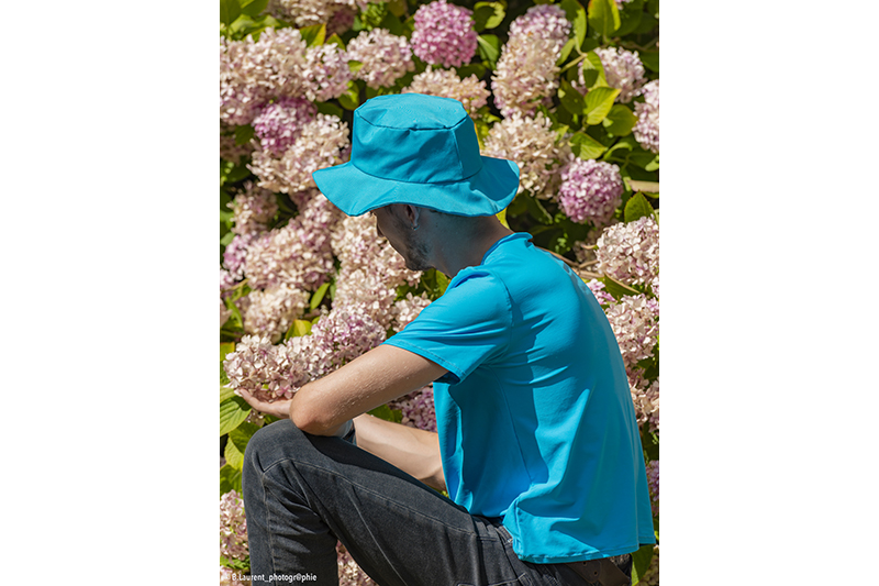 chapeau de soleil bob plage turquoise uni