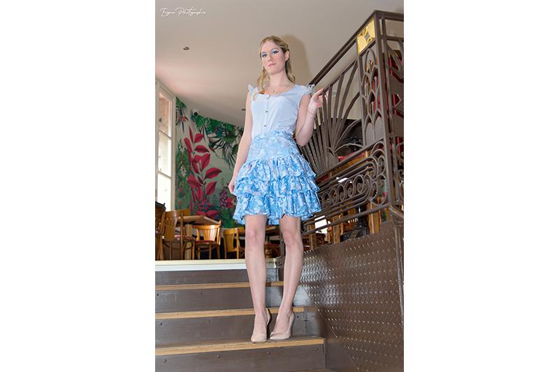 jupe femme bleu ciel vetement made in france