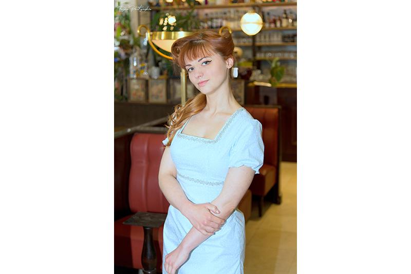 robe bleu ciel motif étoiles made in france