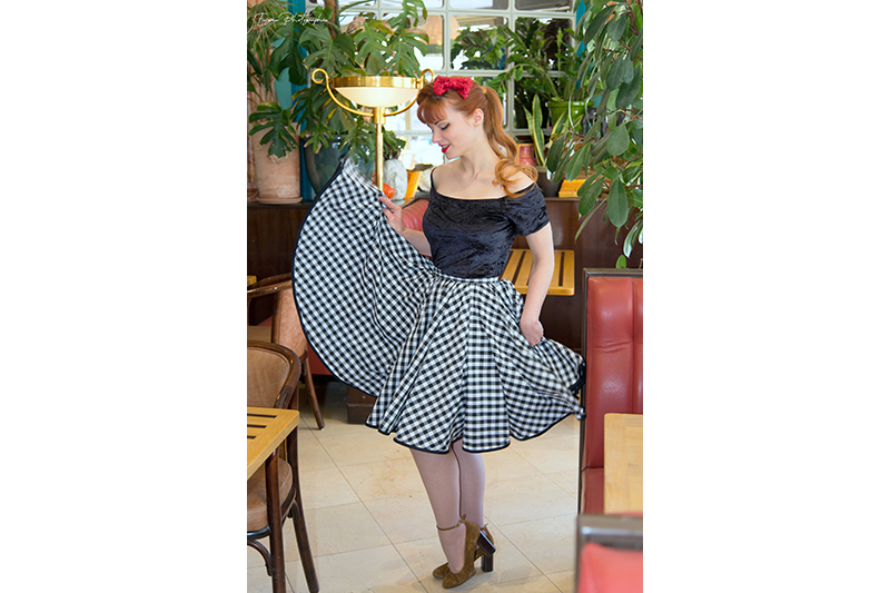 jupe made in France noir et blanc carreaux vichy vintage pin up ample