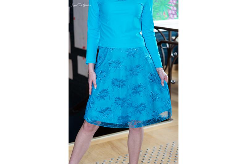 jupe cendrillon bleu turquoise made in france dentelle