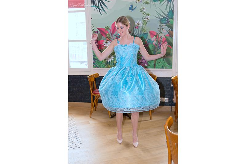 robe cérémonie bleu turquoise made in france cendrillon disneybound