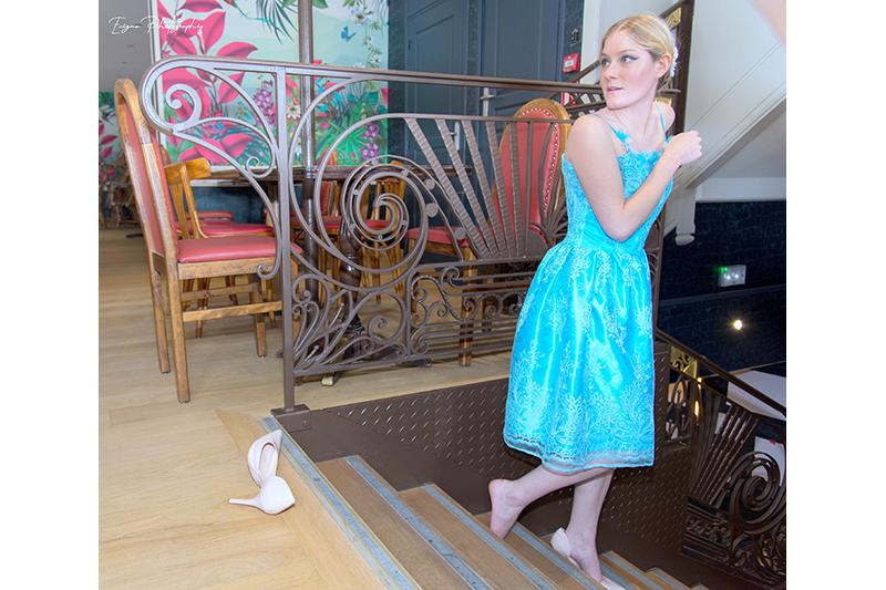 robe ceremonie dentelle turquoise cendrillon made in france